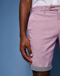 Ted Baker - Printed Spot Cotton City Shorts - Lyst