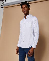 Ted Baker - Leaf Print Cotton Shirt - Lyst