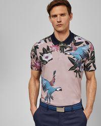 343ecc90b Ted Baker - Cotton Parrot Print Golf Polo Shirt - Lyst