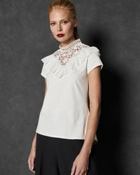 Ted Baker - Joyous Mixed Lace Top - Lyst