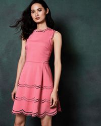 70468e6509 Ted Baker - Embroidered Scallop Detail Skater Dress - Lyst