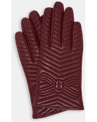 Ted Baker - Quilted Bow Leather Gloves - Lyst