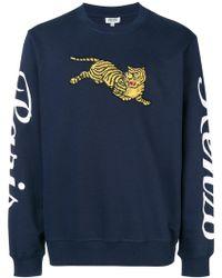 KENZO - Tiger Print Cotton Sweatshirt - Lyst