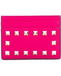 Valentino - Rockstud Leather Card Holder - Lyst