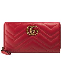 Gucci - Zip Around Marmont Wallet - Lyst