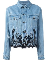 Filles A Papa - Denim Trucker With Flames Embroideries - Lyst