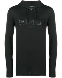 Balmain - Logo Print Cotton Hooded Jumper - Lyst