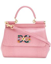 Lyst - Dolce   Gabbana Mini Miss Sicily Printed Leather Tote in Yellow e99009a7ba674