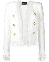 Balmain - Fringed Tweed Jacket - Lyst