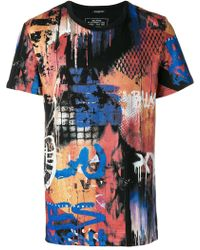 Balmain - Graffiti Print Cotton T-shirt - Lyst