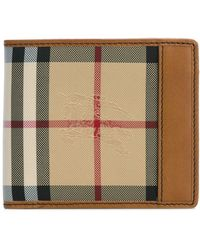 Burberry - Leather Checked Wallet - Lyst