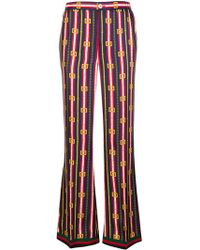 Gucci - Printed Silk Trousers - Lyst