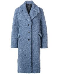 Paul Smith - Slate Blue Bouclé Cocoon Coat - Lyst