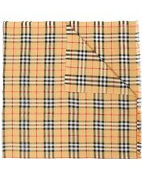 18eea3e7c6b2 Lyst - Burberry Tartan-checked Wool Blend Scarf in Red