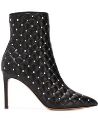 Valentino - Rockstud Spike Leather Ankle Boots - Lyst