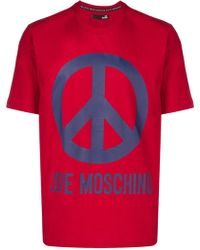 Love Moschino - T-shirt Peace con stampa - Lyst