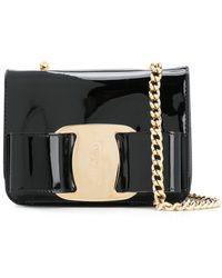 243423586ba9 Ferragamo Medium Vara Black Flap Bag in Black - Lyst