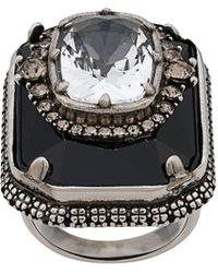 Alexander McQueen - Square Jewelled Ring - Lyst