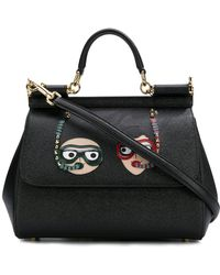 Dolce & Gabbana - Sicily Leather Bag With Patches - Lyst