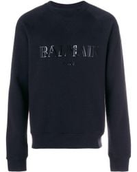 Balmain - Logo Print Jersey Sweater - Lyst