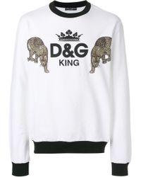Dolce & Gabbana - D&g King Print Cotton Sweater - Lyst