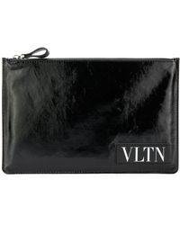 Valentino - Vltn Pouch Zipped In Leather - Lyst