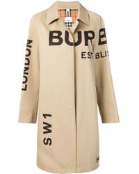 Burberry - Logo Wool Coat - Lyst