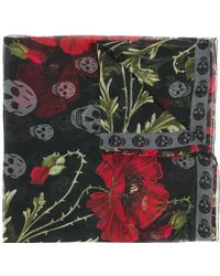 Alexander McQueen - Floral Skull Print Scarf - Lyst