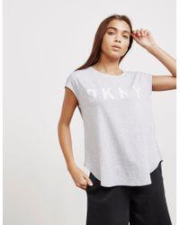 DKNY - Womens Cut Logo Short Sleeve T-shirt Grey - Lyst