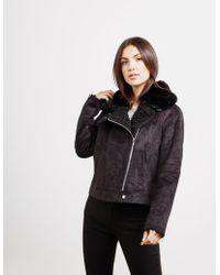 DKNY - Faux Suede Jacket Black - Lyst