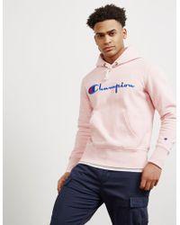 Champion - Mens Large Logo Overhead Hoodie Pink - Lyst