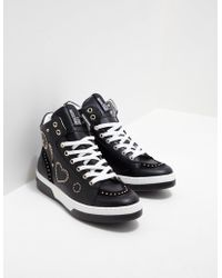 Love Moschino - Womens Stud High Top Trainers - Online Exclusive Black - Lyst