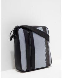Versace | Mens Macro Logo Small Item Bag Grey/black | Lyst