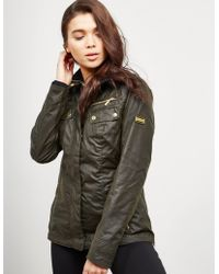 Barbour - Womens International Leader Wax Padded Jacket Khaki - Lyst