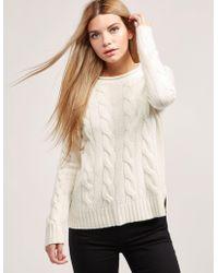 Polo Ralph Lauren - Womens Boxy Roll Neck Knitted Jumper Cream - Lyst
