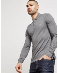 Polo Ralph Lauren - Mens Mesh Long Sleeve Polo Shirt - Online Exclusive Grey  - Lyst
