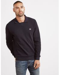 Fred Perry - Mens V Insert Waffle Long Sleeve Polo Shirt Black - Lyst