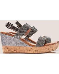 Ilse Jacobsen - Womens Poppy Diamante Wedge Sandals Silver - Lyst