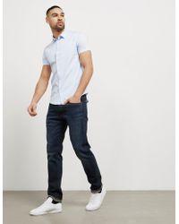 Emporio Armani - Mens Basic Poplin Short Sleeve Shirt Blue - Lyst