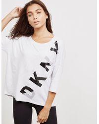 DKNY - Womens Logo Three Quarter Sleeve T-shirt White - Lyst