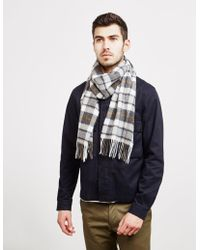 Barbour - Lambswool Check Scarf Grey - Lyst