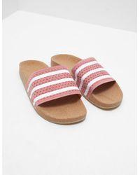 adidas Originals - Womens Adilette Cork Slides Pink - Lyst
