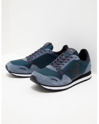 Emporio Armani - Mens Zone Trainers Navy Blue - Lyst