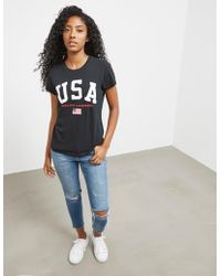 Polo Ralph Lauren - Womens Usa Short Sleeve T-shirt Black - Lyst