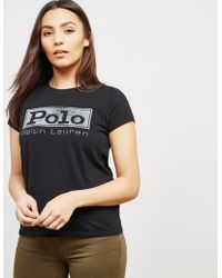 Polo Ralph Lauren - Womens Square Short Sleeve T-shirt - Online Exclusive Black - Lyst