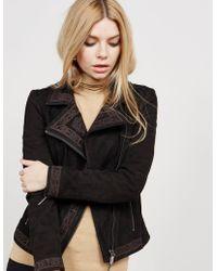 BOSS - Womens Suede Jacket Black - Lyst