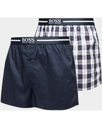 BOSS - Mens 2-pack Woven Boxer Shorts - Online Exclusive Navy Blue - Lyst