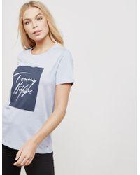 Tommy Hilfiger - Womens Signature Box Logo Short Sleeve T-shirt Purple - Lyst
