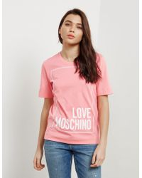 Love Moschino - Womens Square Short Sleeve T-shirt Pink - Lyst