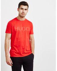 HUGO - Mens Dolive Short Sleeve T-shirt Red - Lyst